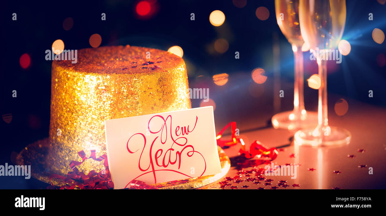 Table at new years eve celebration - Stock Image