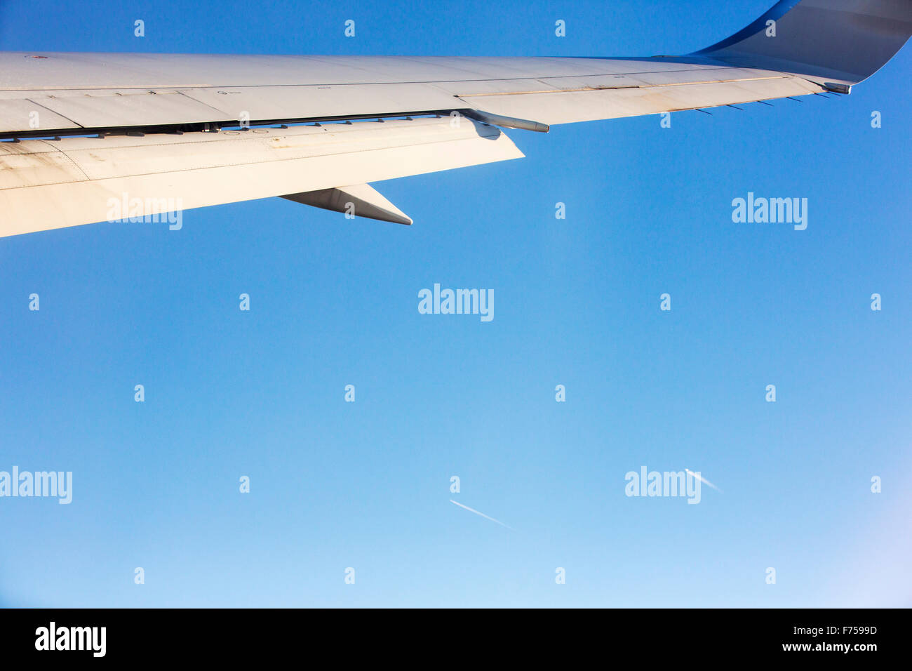 Emissions from airplanes. - Stock Image