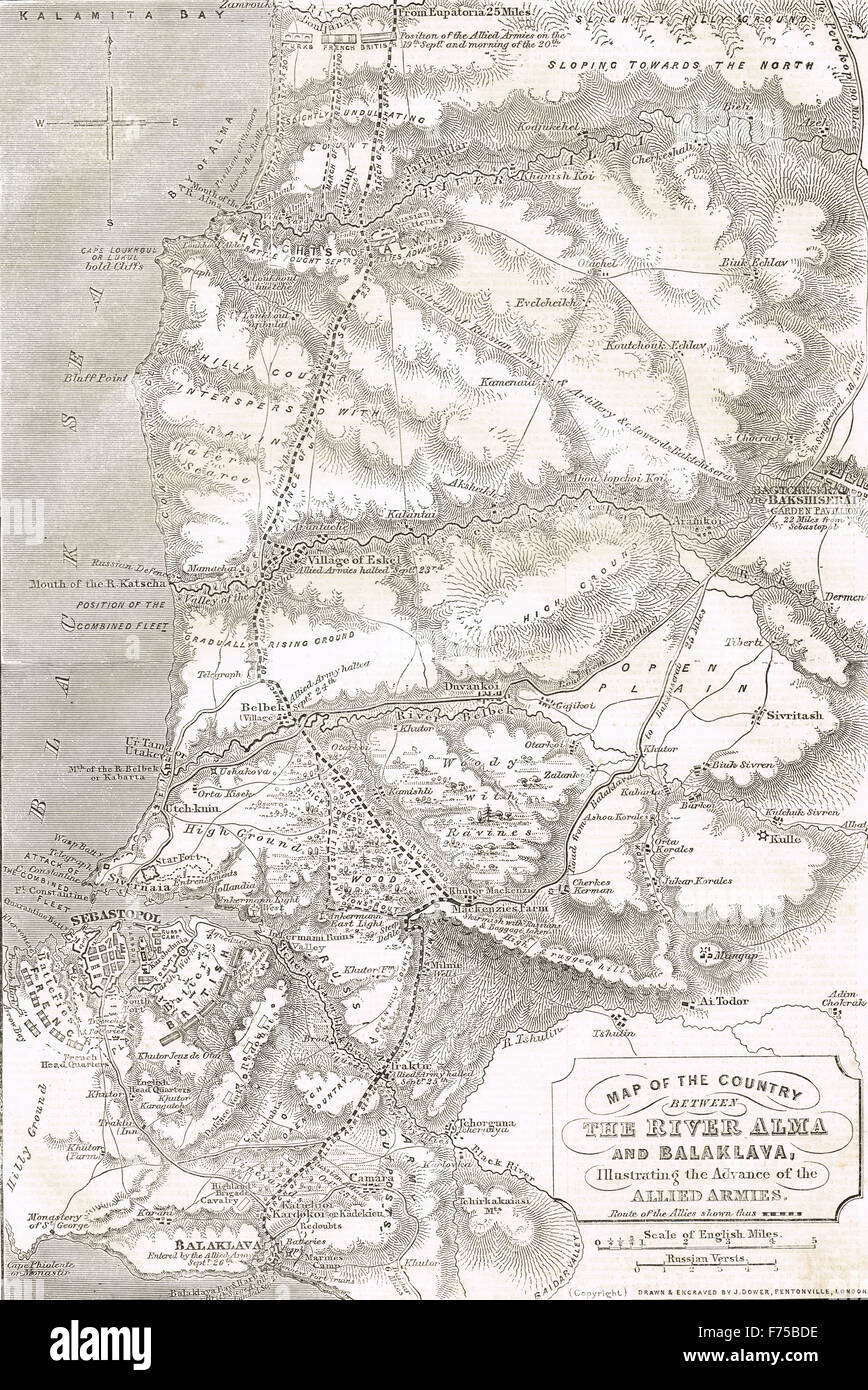 Map of Crimea showing Advance of Allied Armies 1855 - Stock Image