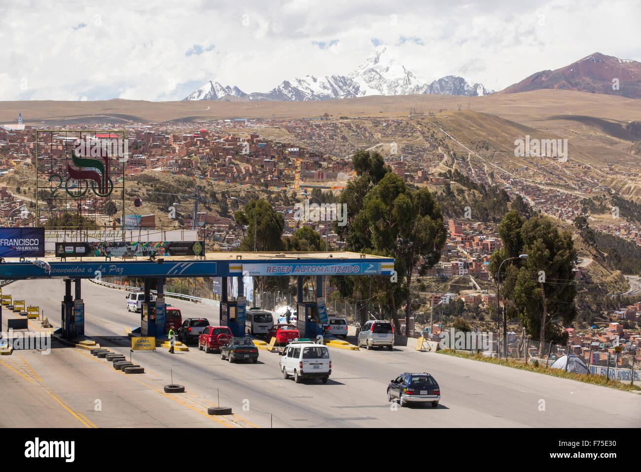 The peak of Huayna Potosi from El Alto above, La Paz, Bolivia. La Paz and El Alto are critically short of water Stock Photo