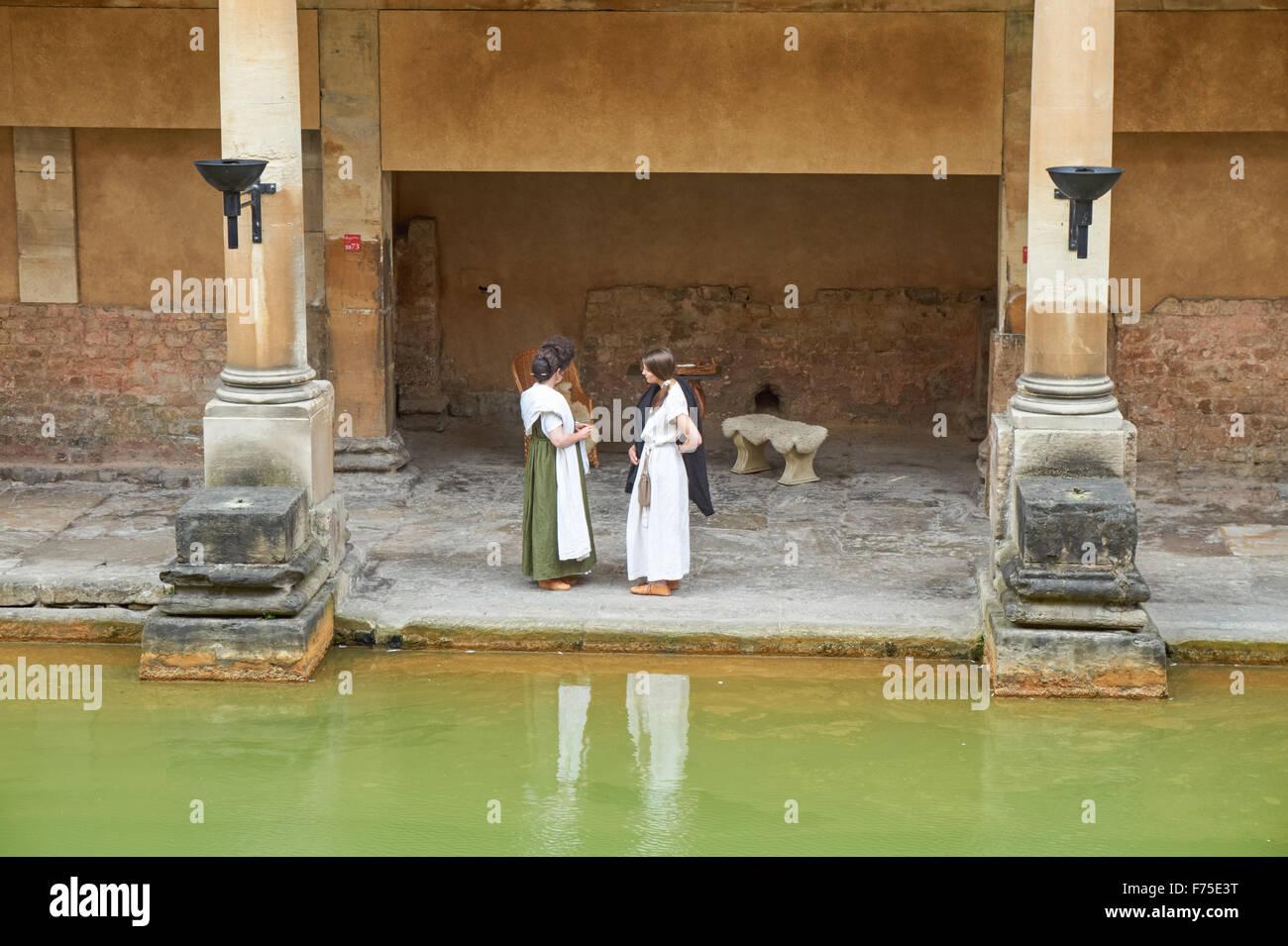 The Great Bath at the Roman Baths in Bath, Somerset England United Kingdom UK - Stock Image