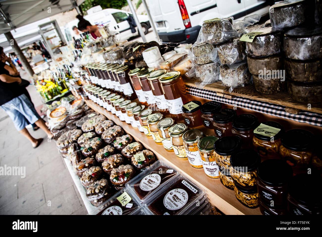 Street market at Montserrat, Barcelona, Spain Stock Photo