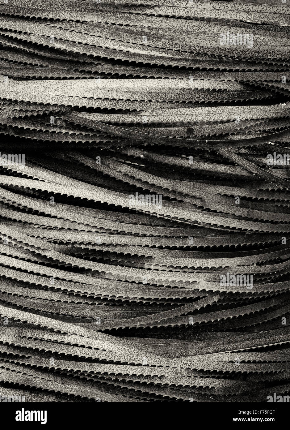 Stack of band saw blades - Stock Image