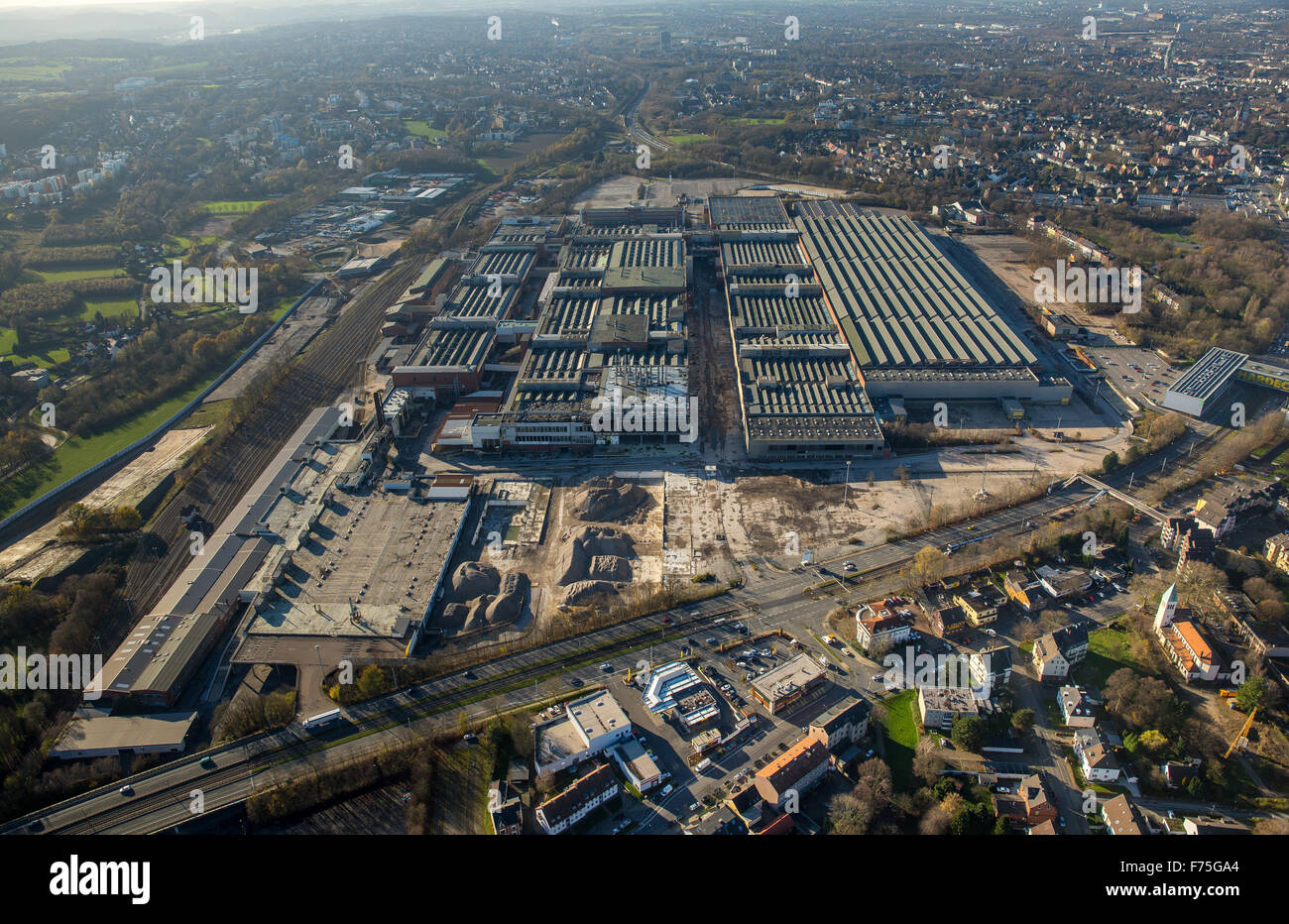 Opel plant 1, demolition, former paintshop, Bochum, Ruhr area, North Rhine Westphalia Germany Europe aerial view - Stock Image