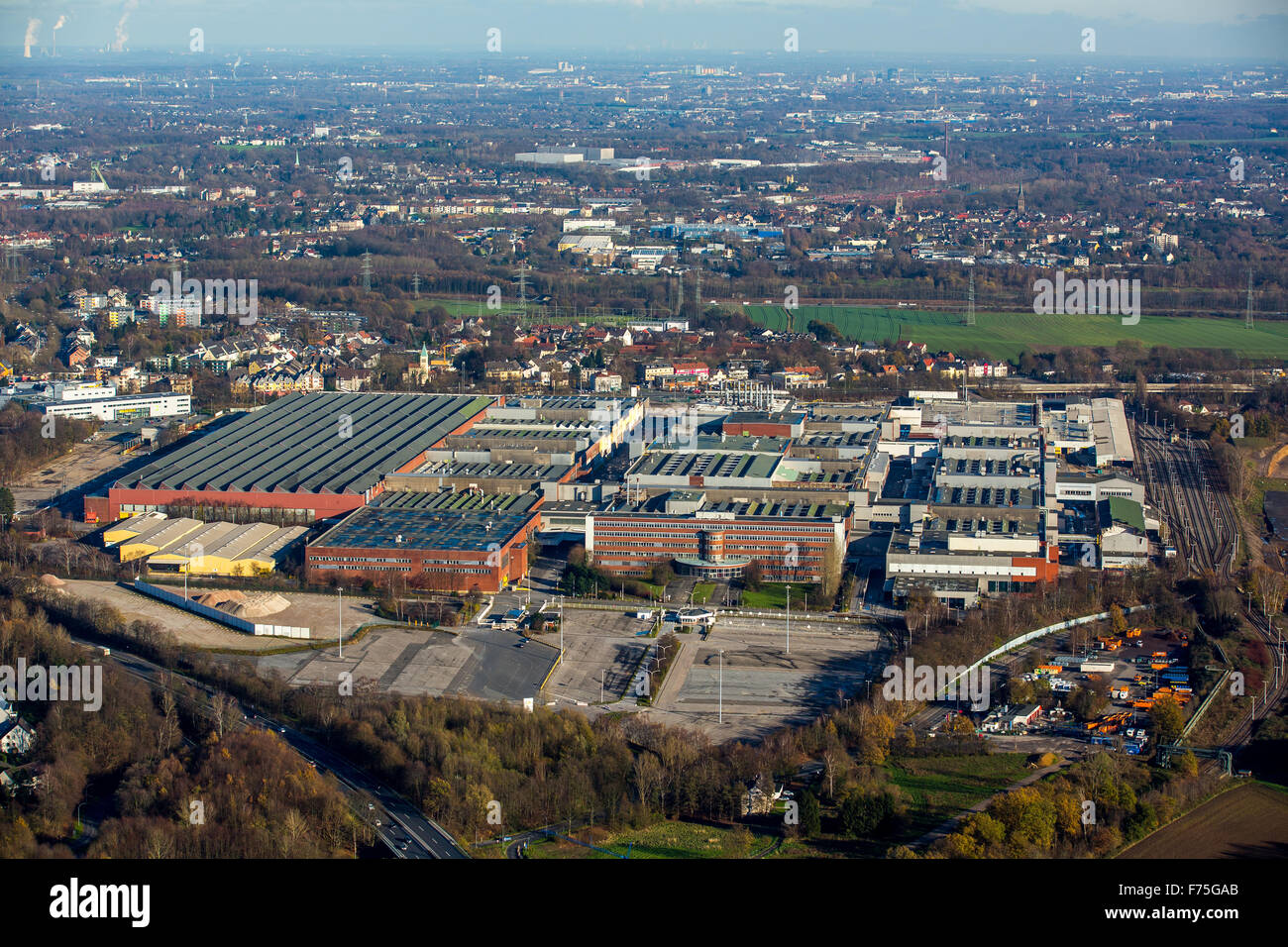 Entrance from Opelwerk 1 with missing Logo, Opel plant 1, demolition, Bochum, Ruhr area, North Rhine Westphalia - Stock Image