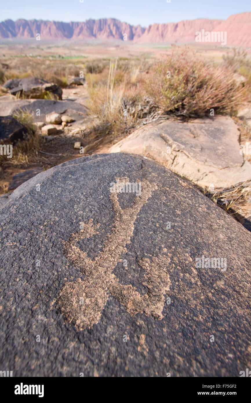Petroglyphs of Anasazi Canyon - Stock Image