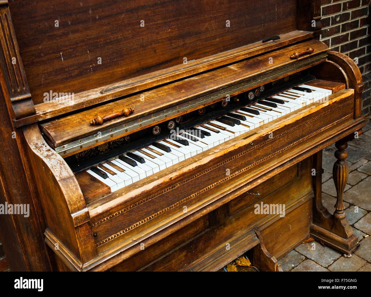 old piano and piano keys stock photo 90477340 alamy. Black Bedroom Furniture Sets. Home Design Ideas