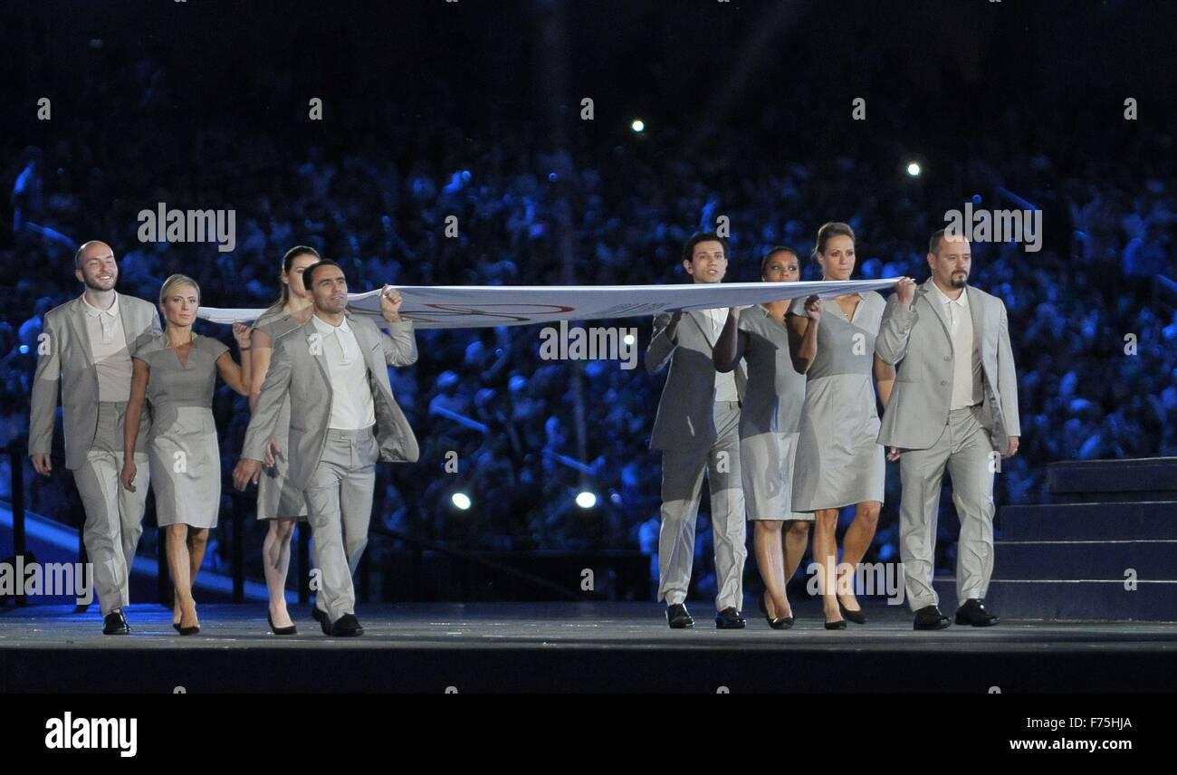 Flagbearers Namig Adullayev (AZE), Thomas Bimis (GRE), Niccolo Campriani (ITA), Lucie Decosse (FRA), Krisztina Fazekas - Stock Image