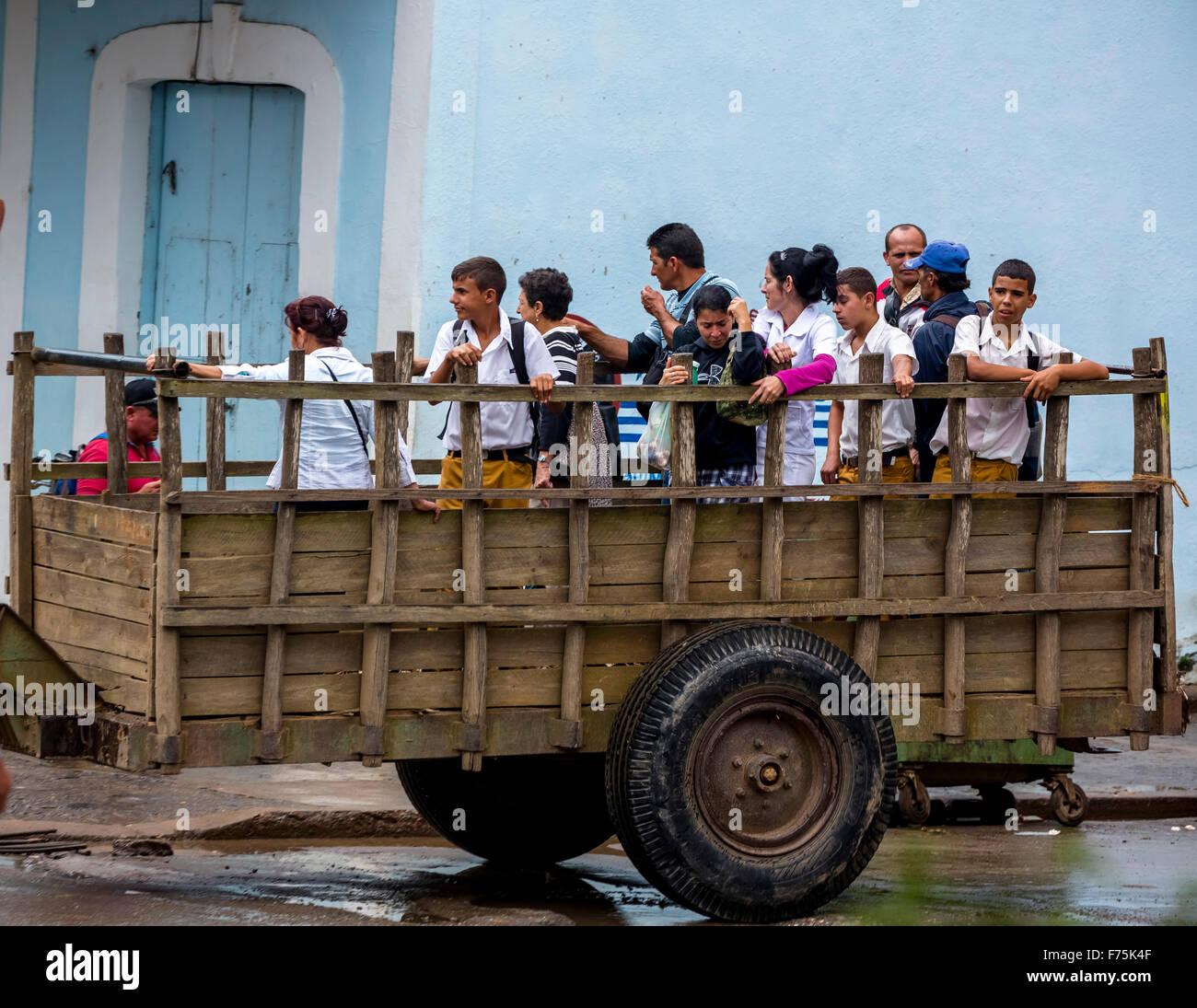 Students on uniaxial trailer, Cuban students vans, school bus, public transport, public transport, Cuban transport, - Stock Image