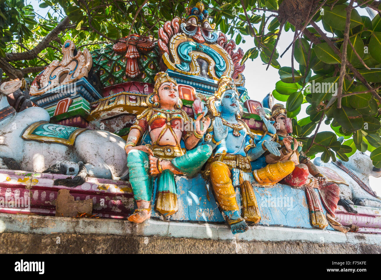 Typical colourful statues of Hindu gods, Kapaleeswarar Temple, a Hindu temple of Shiva located in Mylapore, Chennai, - Stock Image