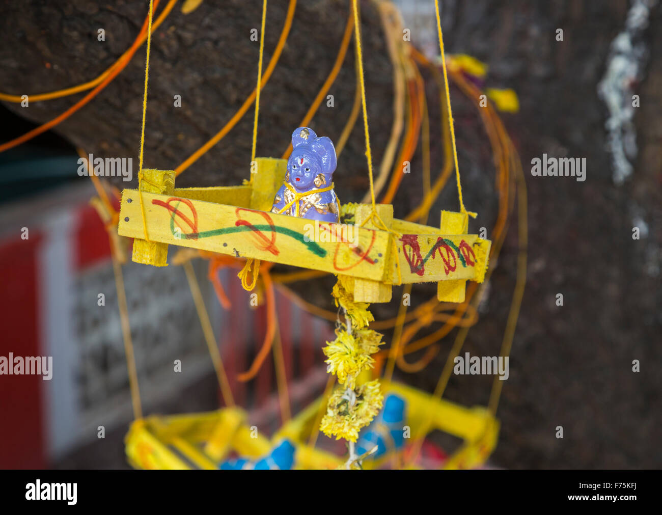 Home made hanging fertility charm in Kapaleeswarar Temple, a Hindu temple of Shiva located in Mylapore, Chennai, - Stock Image
