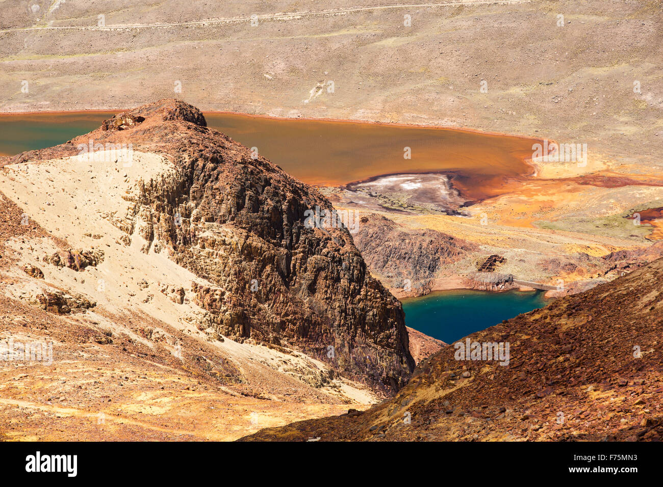 A lake below the peak of Chacaltaya in the Bolivian Andes discoloured by mine effluent contamination. - Stock Image