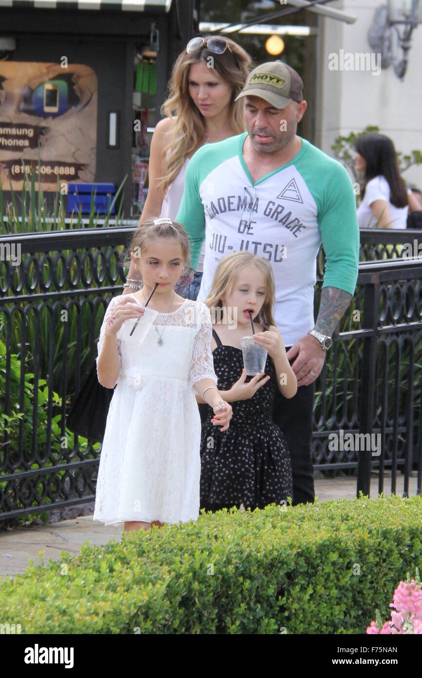 UFC commentator Joe Rogan out and about in Beverly Hills with his family  Featuring: Joe Rogan, Jessica Rogan Where: Stock Photo
