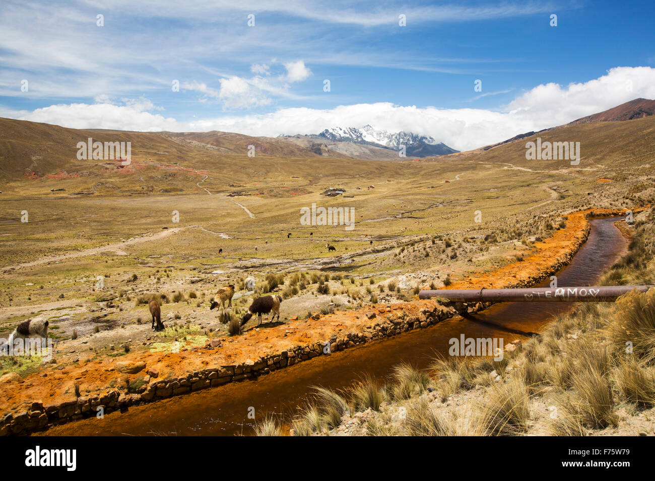 Water from Laguna Miluni which is a reservoir fed by glacial meltwater from the Andean peak of Huayna Potosi in - Stock Image
