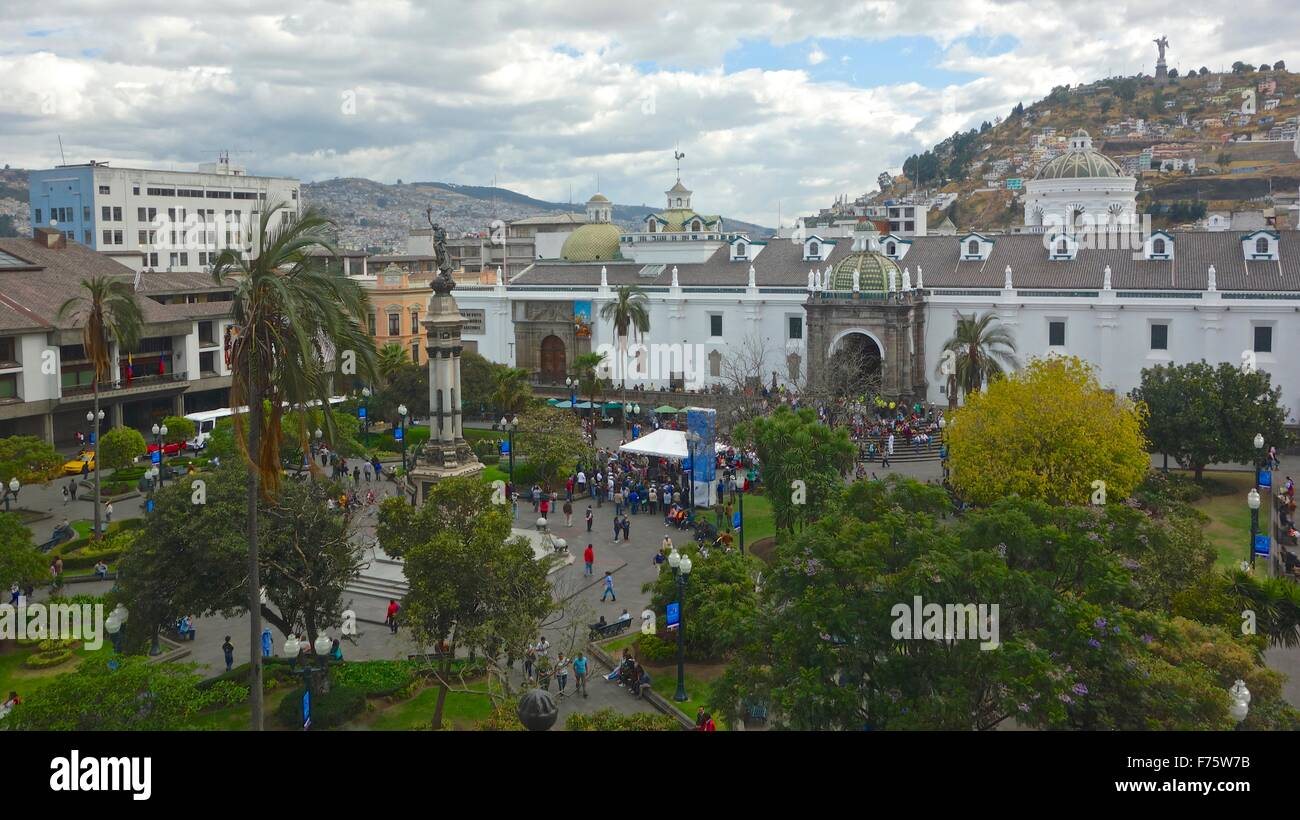 Plaza Grande, the central square in the historical, colonial center of Quito, Ecuador. - Stock Image