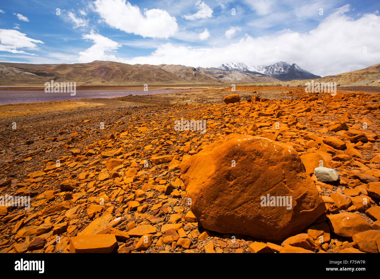 Laguna Miluni is a reservoir fed by glacial meltwater from the Andean peak of Huayna Potosi in the Bolivian Andes, - Stock Image