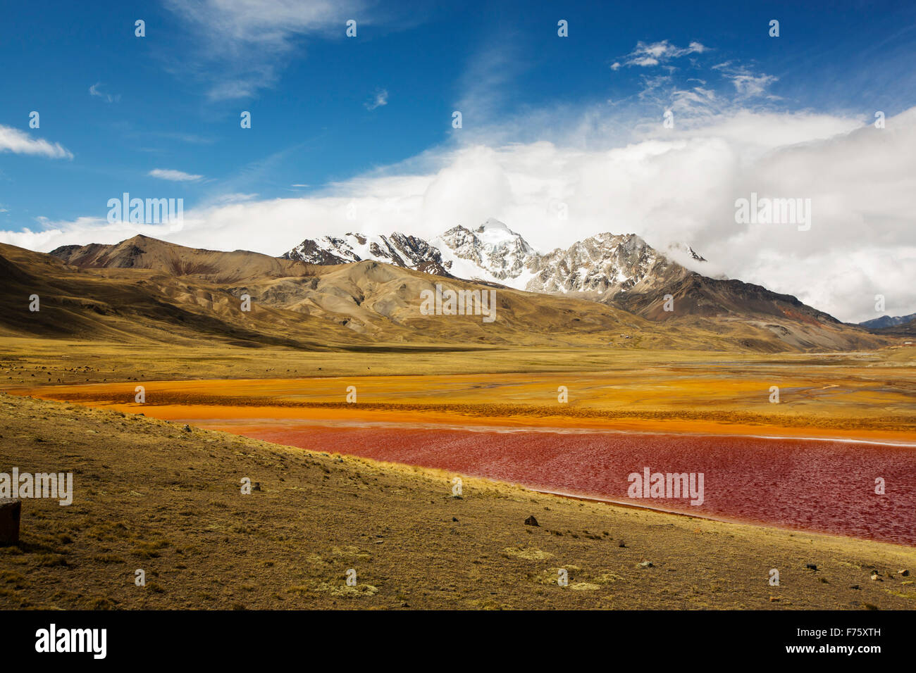Laguna Miluni is a reservoir fed by glacial meltwater from the Andean peak of Huayna Potosi in the Bolivian Andes. - Stock Image