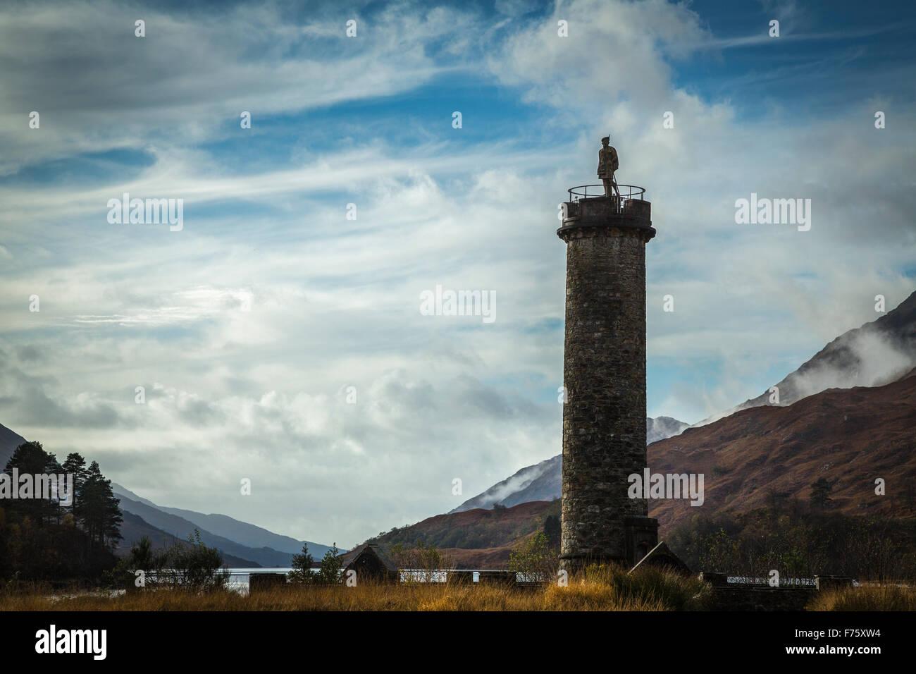 The Unknown Highlander monument at the head of Loch Shiel, Glenfinnan, Highlands, Scotland Stock Photo