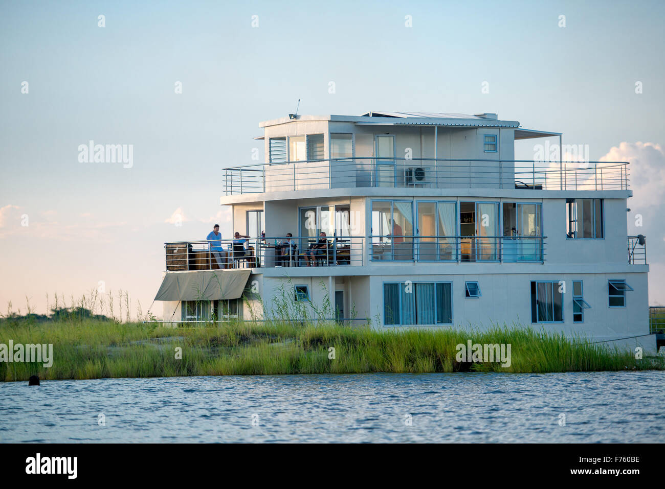 Kasane, Botswana - Chobe National Park Floating Safari Camp - Stock Image