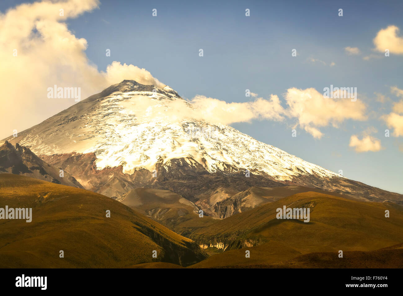 Cotopaxi Volcano Violent Day Explosion, Ecuador, South America - Stock Image