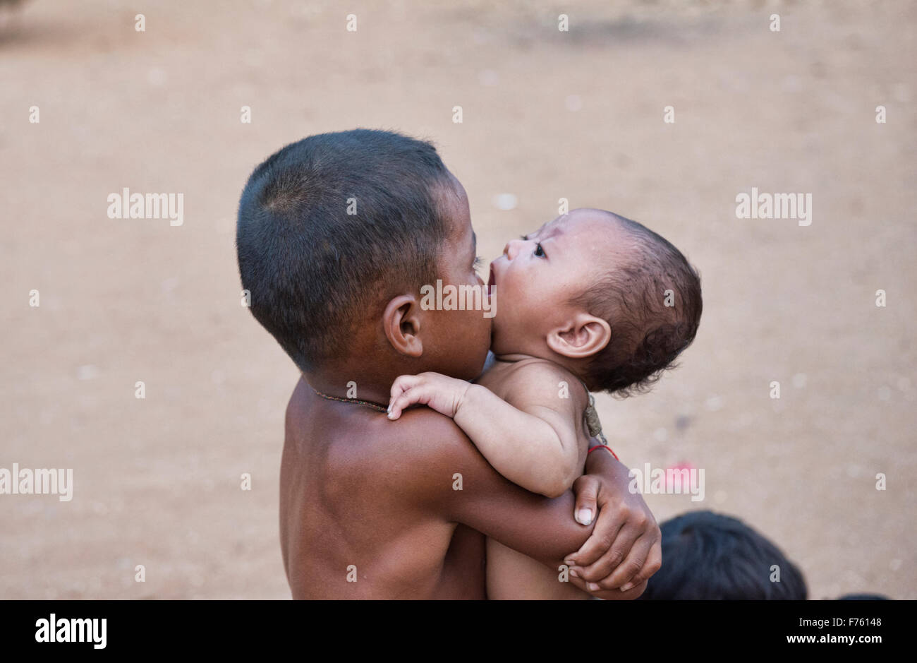 Brotherly love, Siem Reap, Cambodia - Stock Image