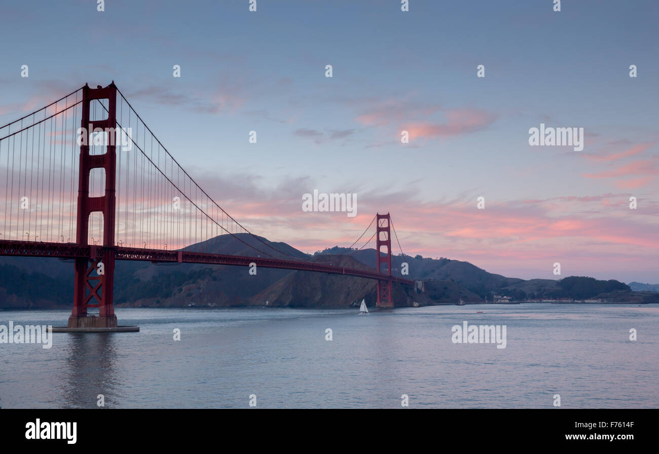 Golden-Gate Bridge at Sunset, San Francisco, California - Stock Image