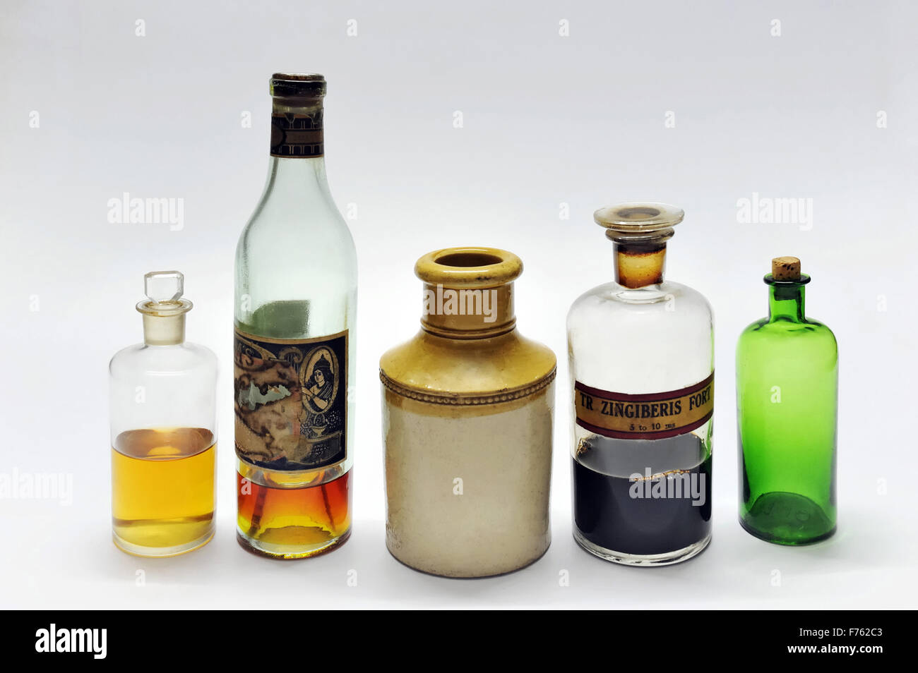 Antique, bottles, india, asia - Stock Image