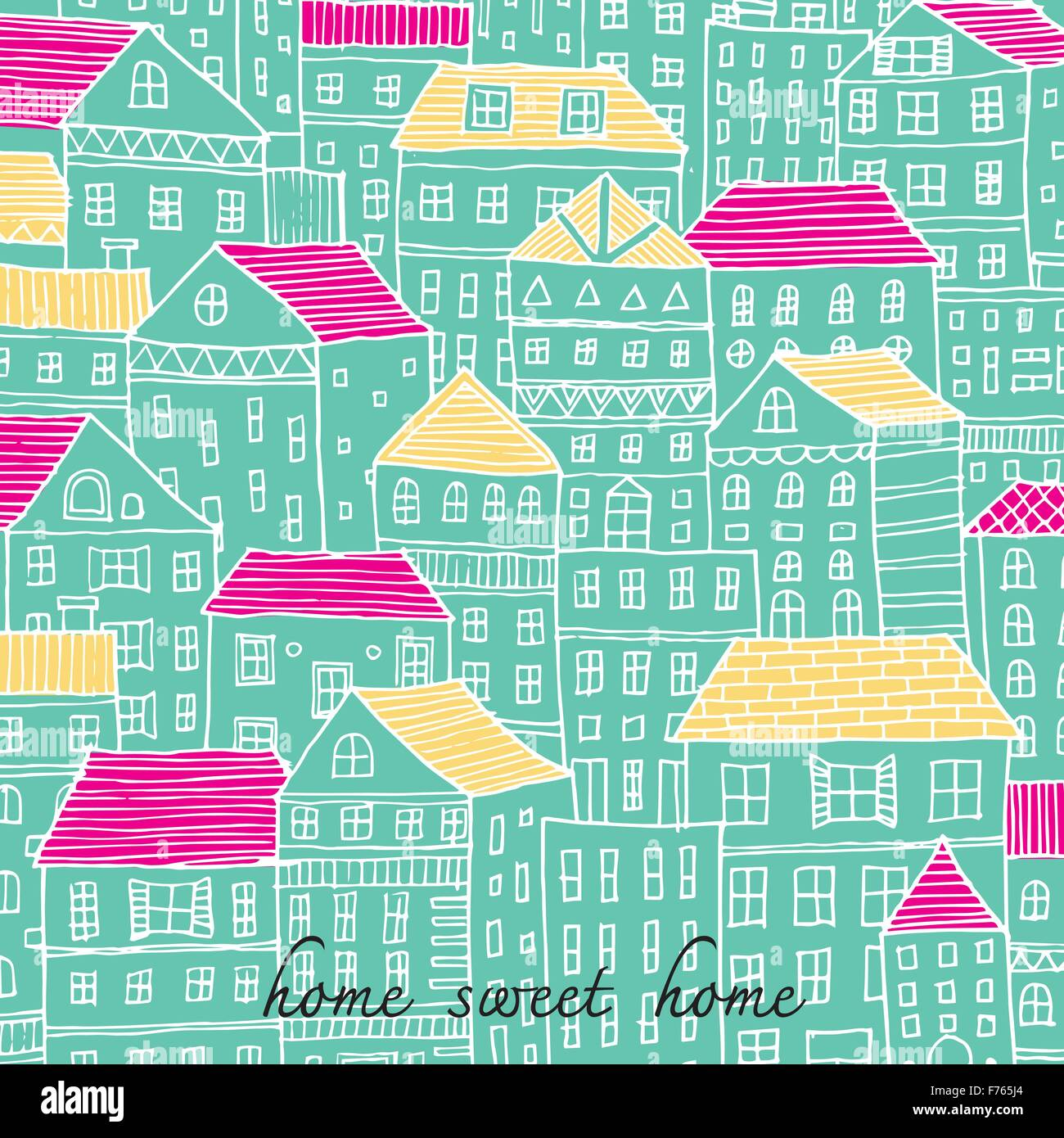 Home sweet Home doodle illustration sketch style pastel color - Stock Vector