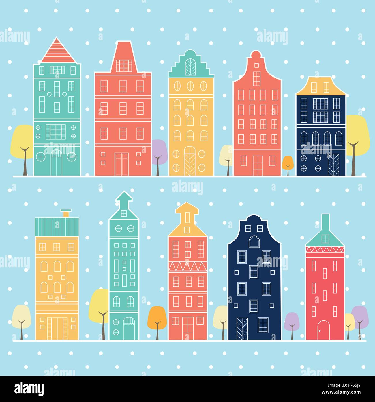 Amsterdam houses style pastel color Netherlands, home sweet home - Stock Vector