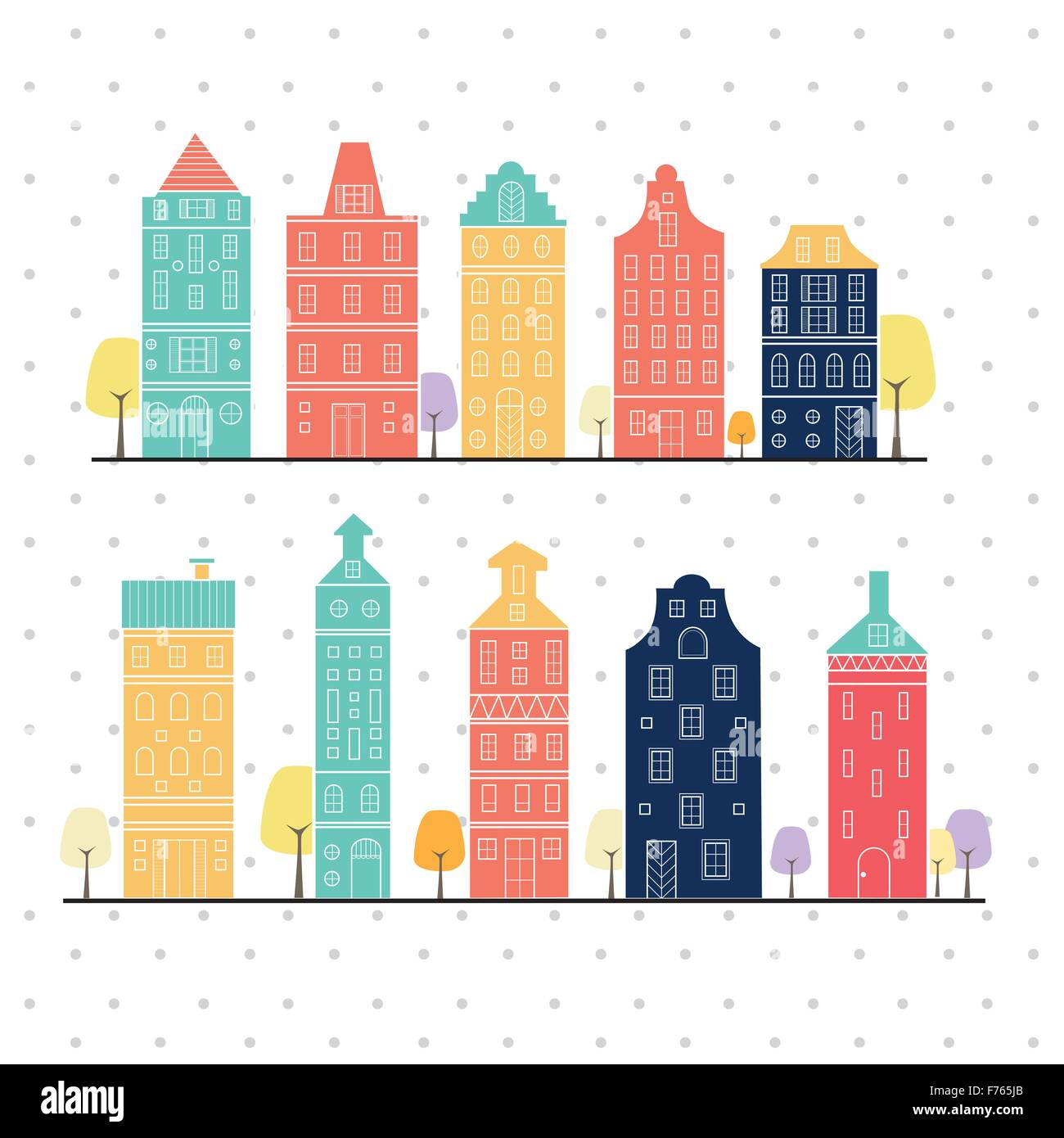Amsterdam houses style variation pastel color Netherlands, home sweet home - Stock Vector