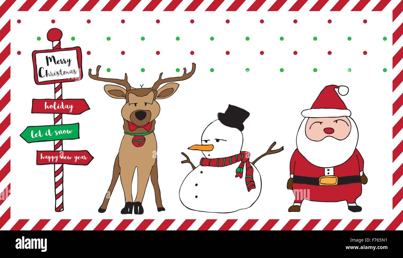 Merry Christmas card pattern with Santa, reindeer, snowman, snow ...