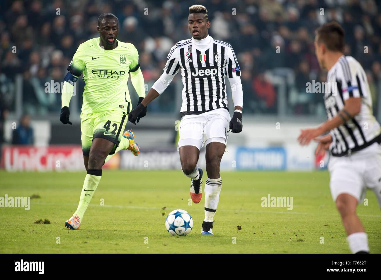 Turin Italy 25th Nov 2015 Yaya Toure Man C Paul Pogba Stock Photo Alamy