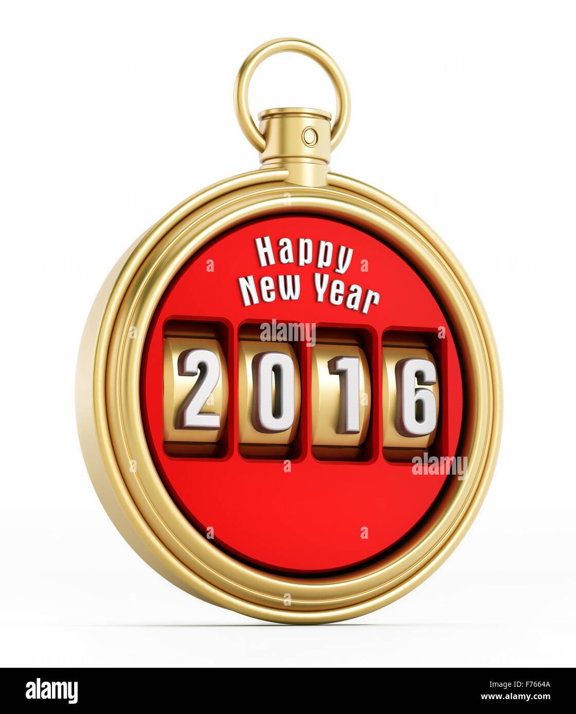 New year 2016 chronometer isolated on white background - Stock Image