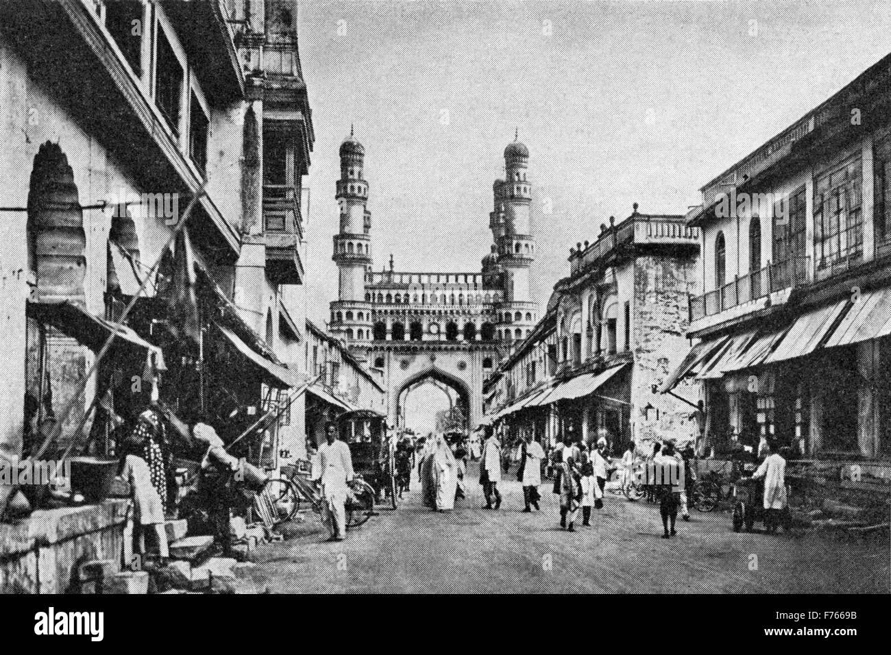 Vintage old 1900s Charminar Hyderabad Andhra Pradesh India