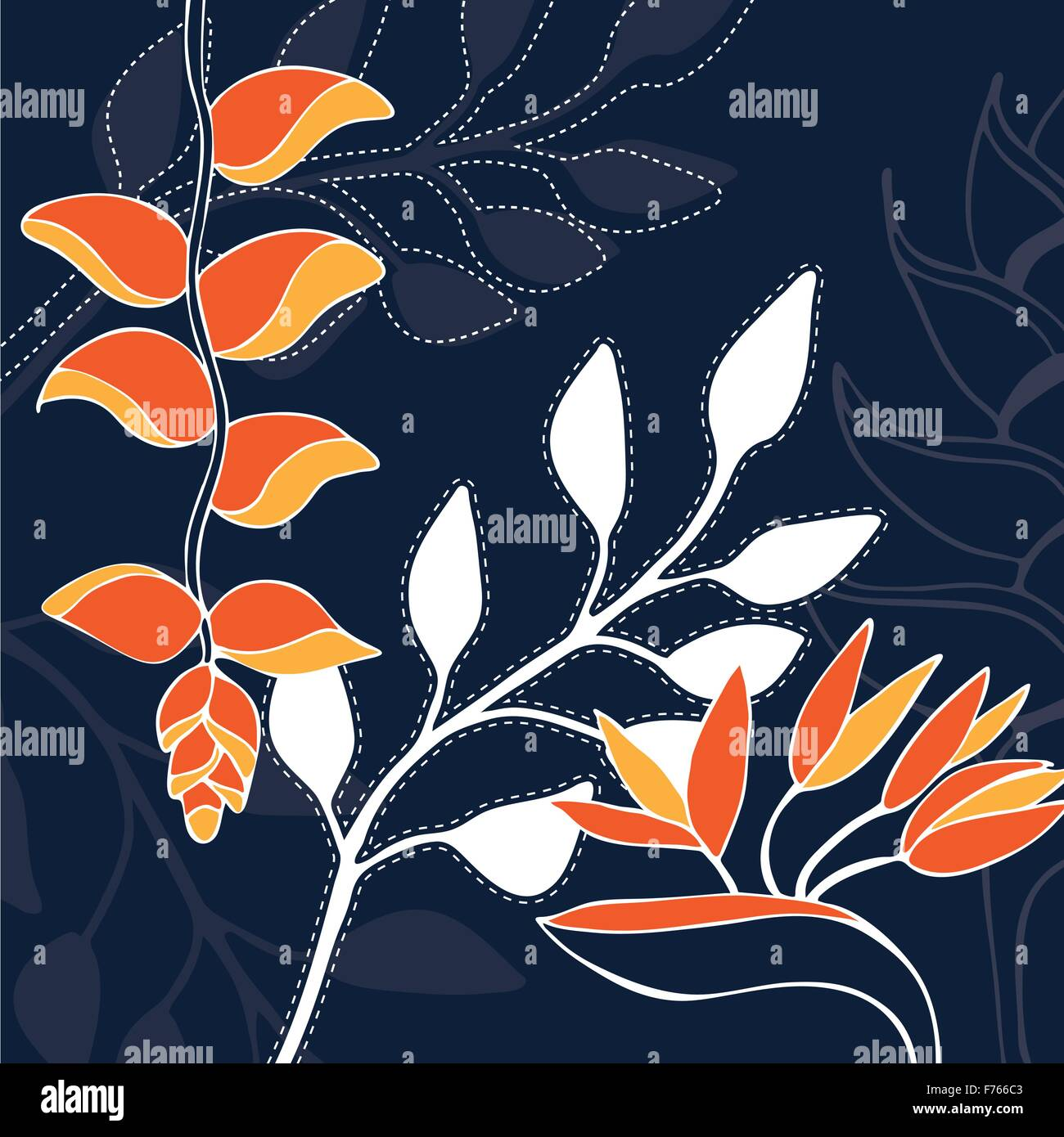 Tropical flower hand drawn illustration pattern Stock Vector