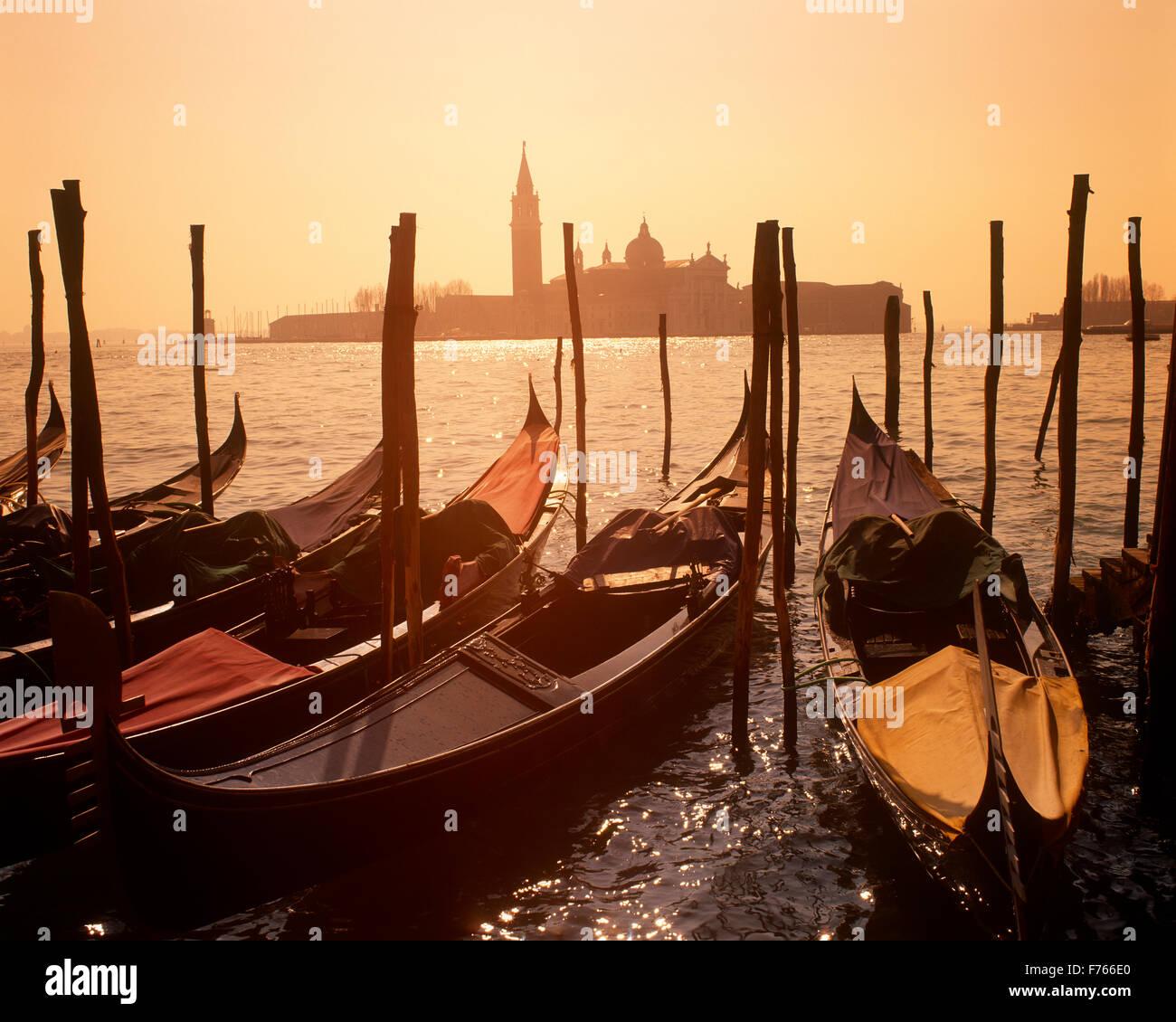 St.Marks Basin and  gondolas, Venice, Veneto, Italy - Stock Image