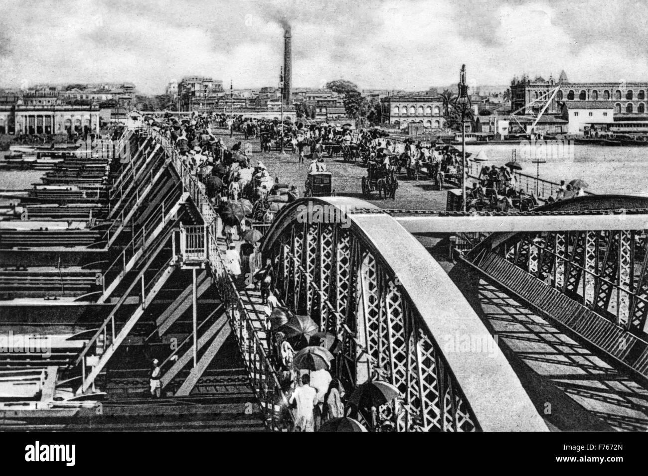 Pontoon bridge, calcutta, west bengal, india, asia - Stock Image