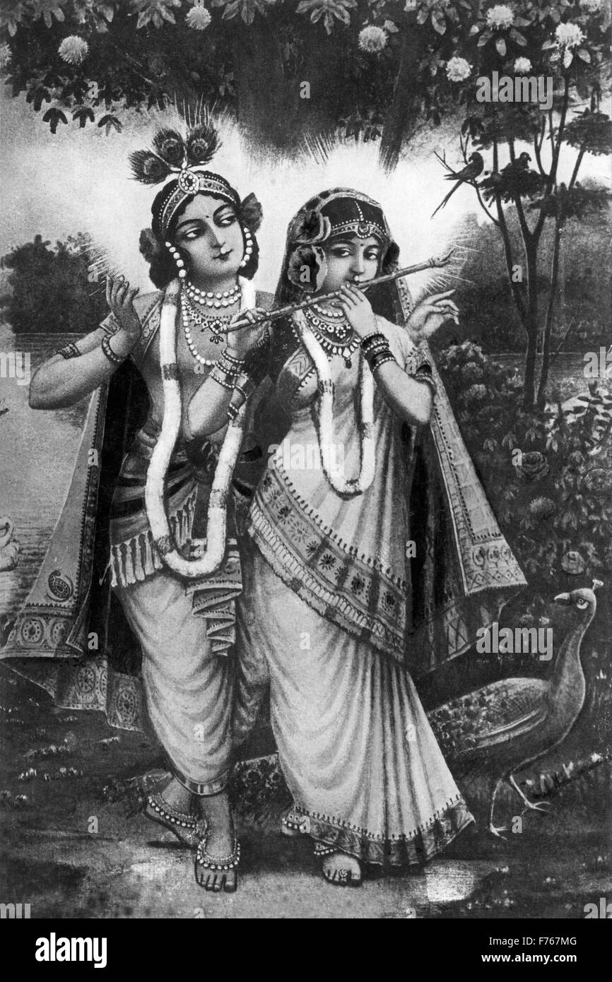 Lord krishna black and white stock photos images alamy