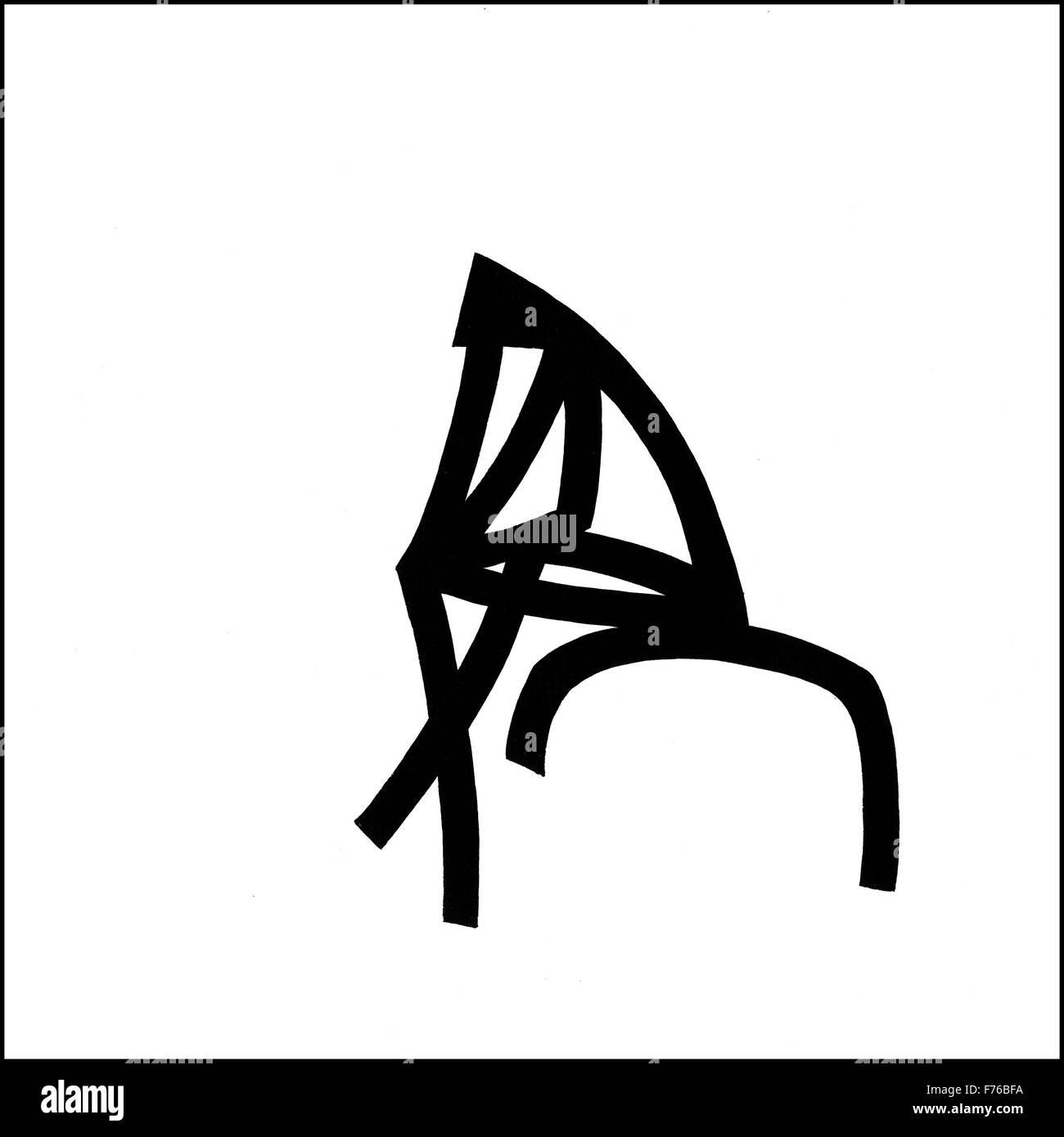 Illustration line drawing of thinker - Stock Image