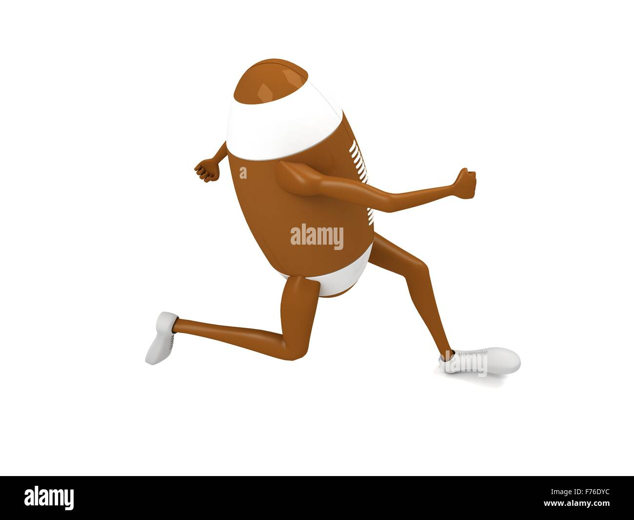 side view of three dimensional running rugby ball - Stock Image