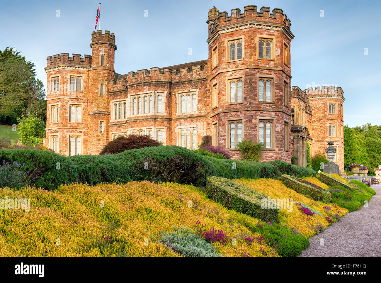 An English stately home in the style of a castle at Mount Edgcumbe in Cornwall - Stock Image