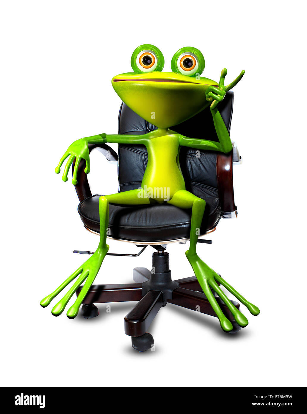 Illustration Cartoon Frog In A Chair Head Stock Photo ...