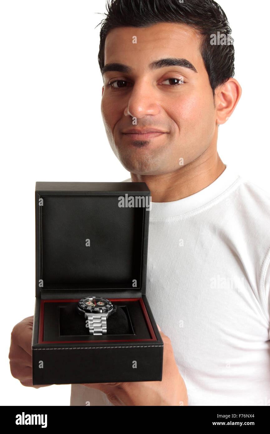 Man showing a wristwatch - Stock Image