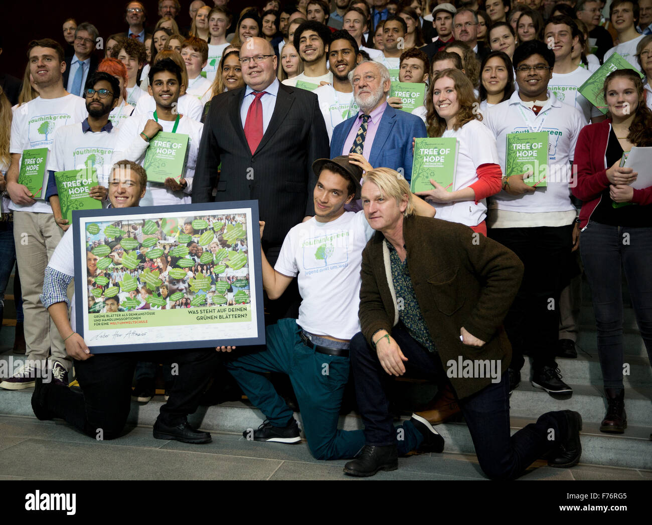 Berlin, Germany. 26th Nov, 2015. Chief of Staff of the Federal Chancellery, Peter Altmaier, stands with the actors Stock Photo