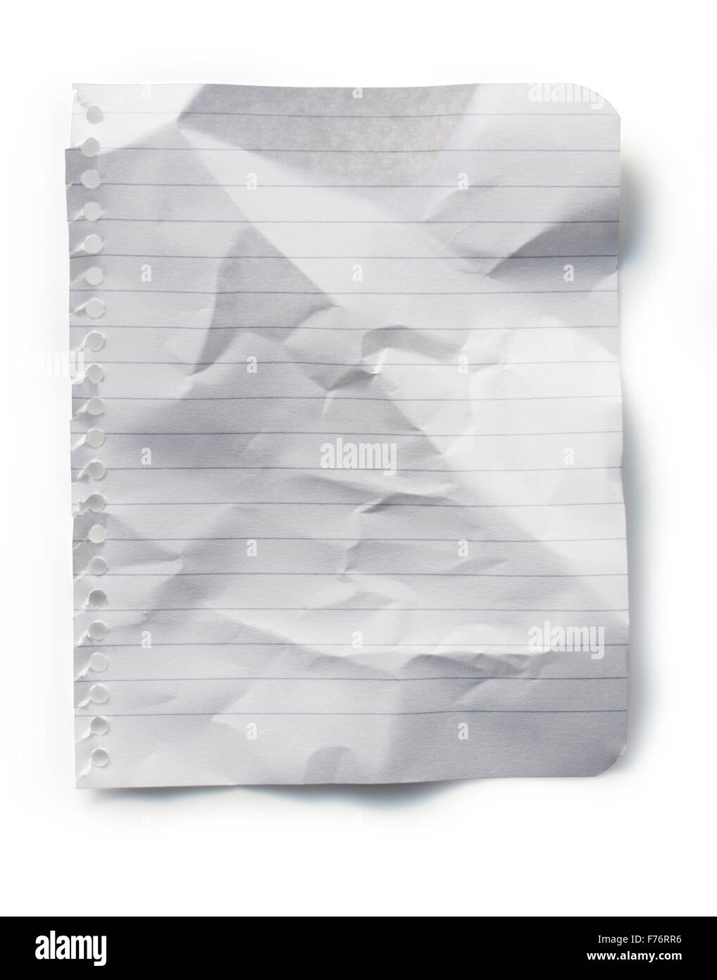 crumpled notebook page stock image
