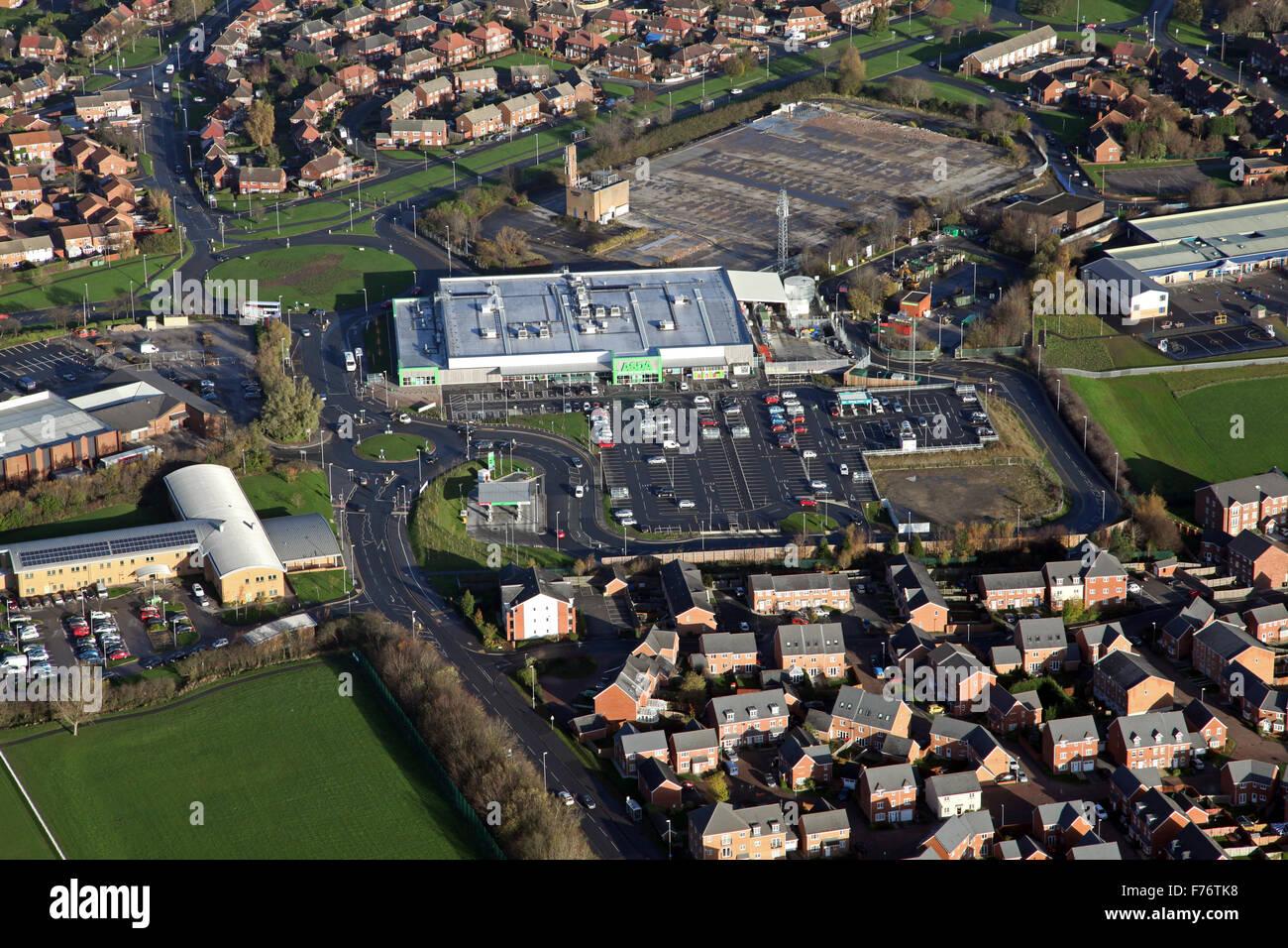 aerial view of Asda supermarket superstore at Middleton near Leeds, UK - Stock Image