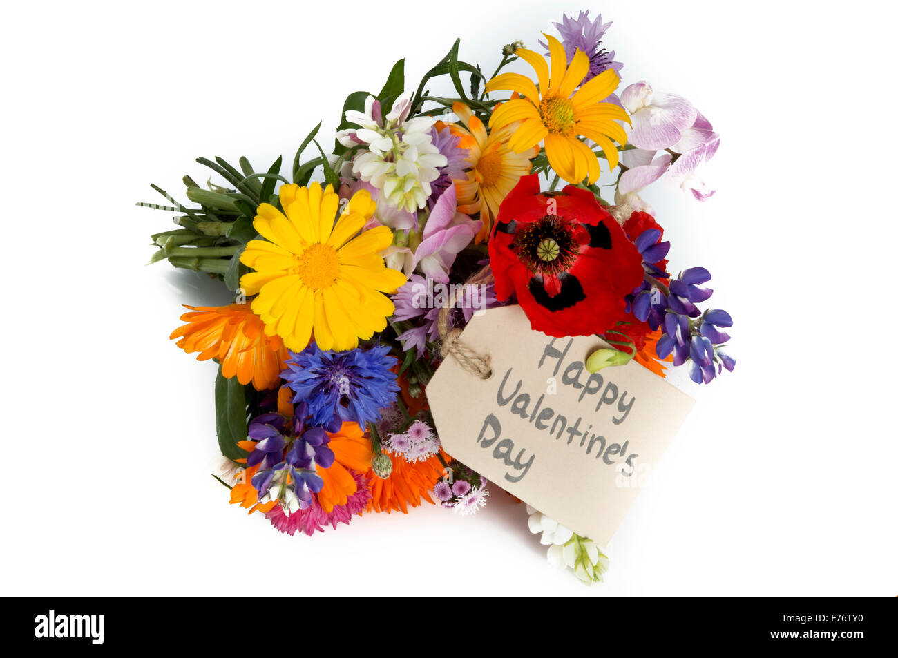 summer flower bouquet with tag islolated on white background Stock ...