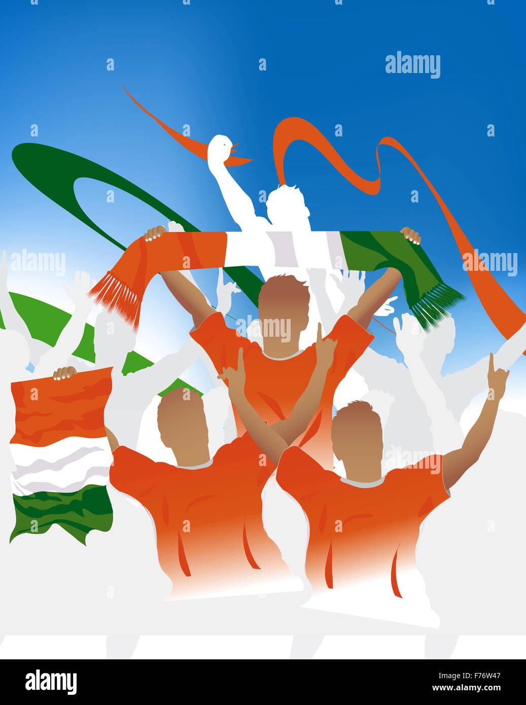 Cote d'Ivoire crowd - Stock Image