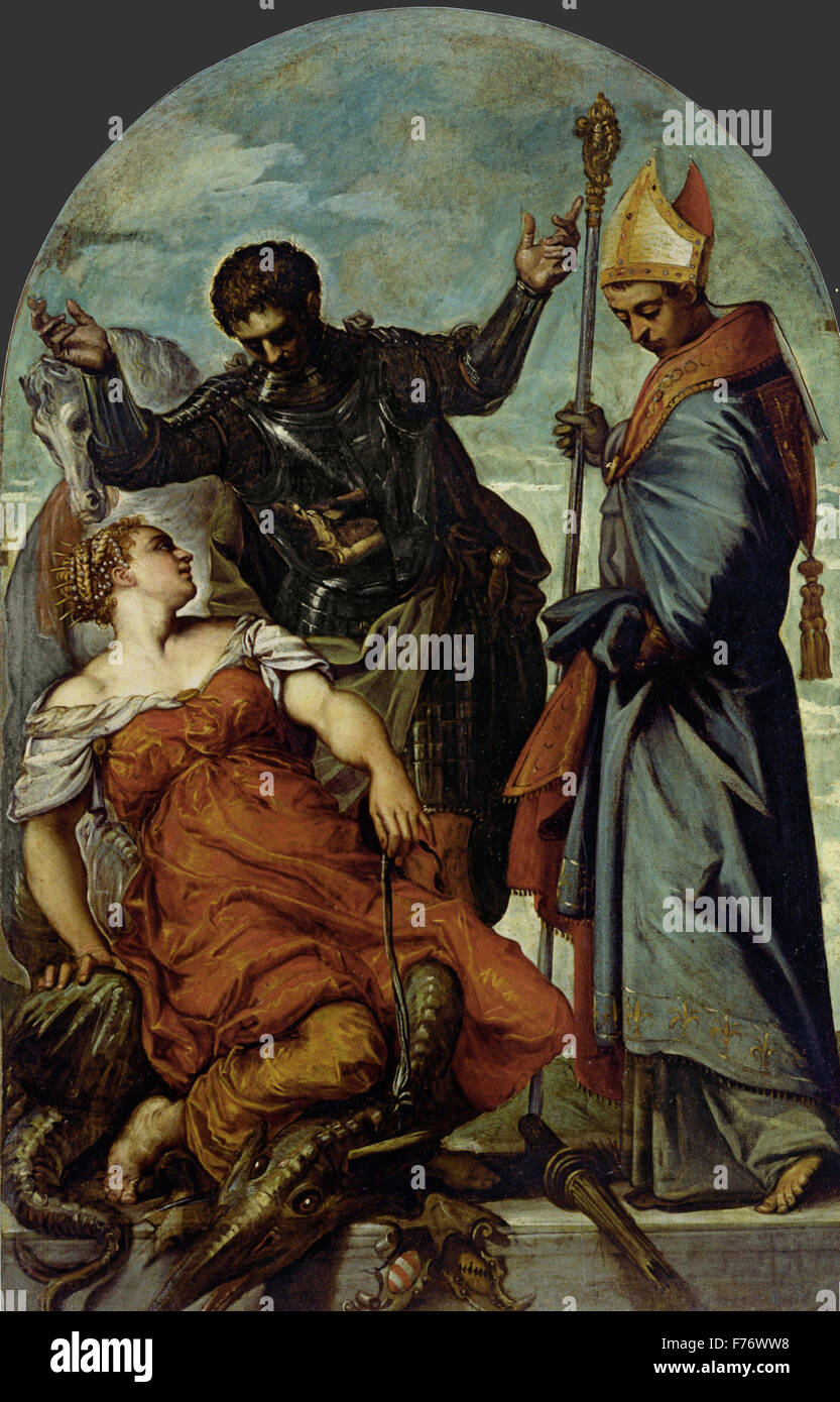 Jacopo Tintoretto - Saint Louis, Saint George, and the Princess - Stock Image