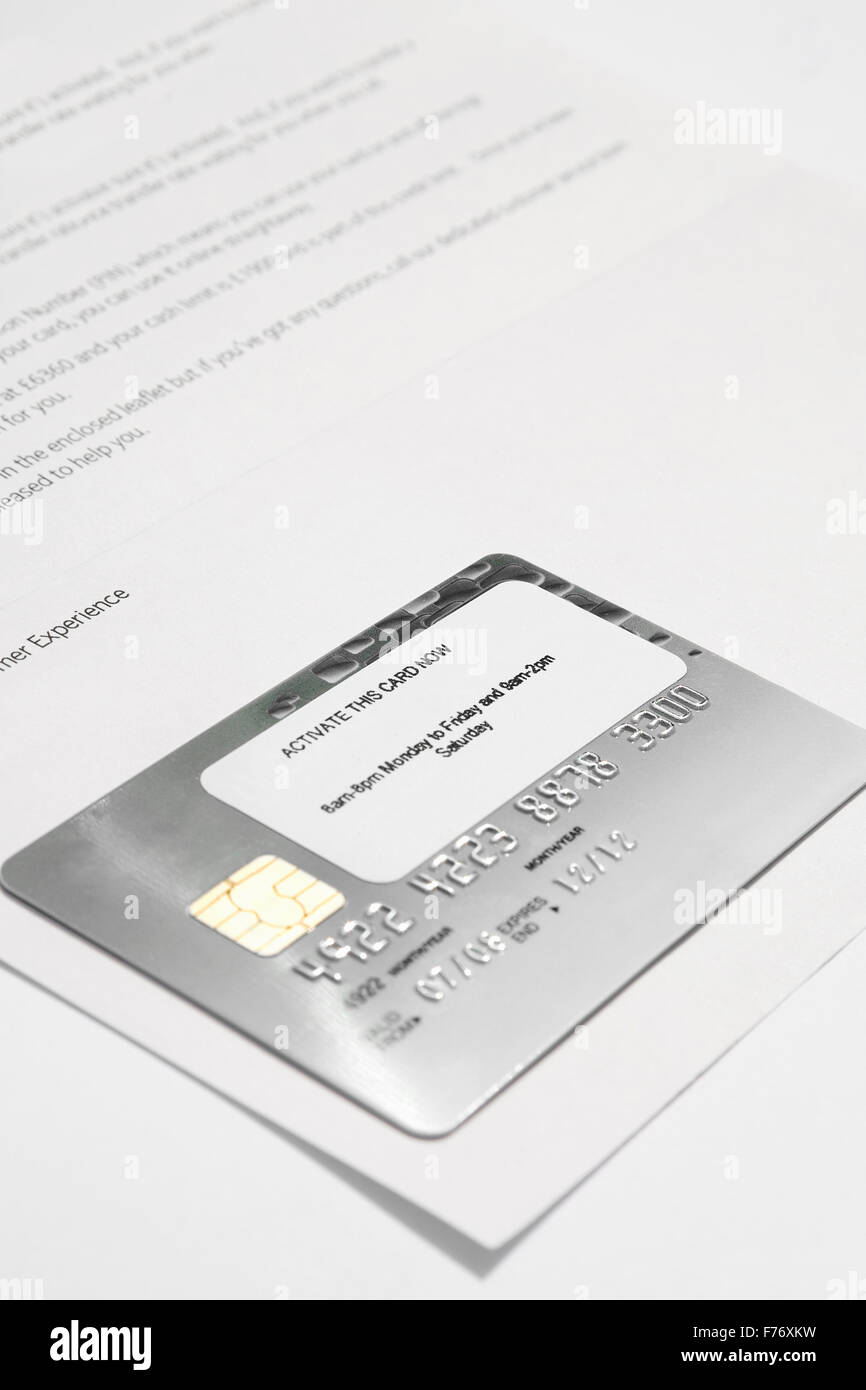 new bank credit card card still stuck on the bank letter ready t Stock Photo